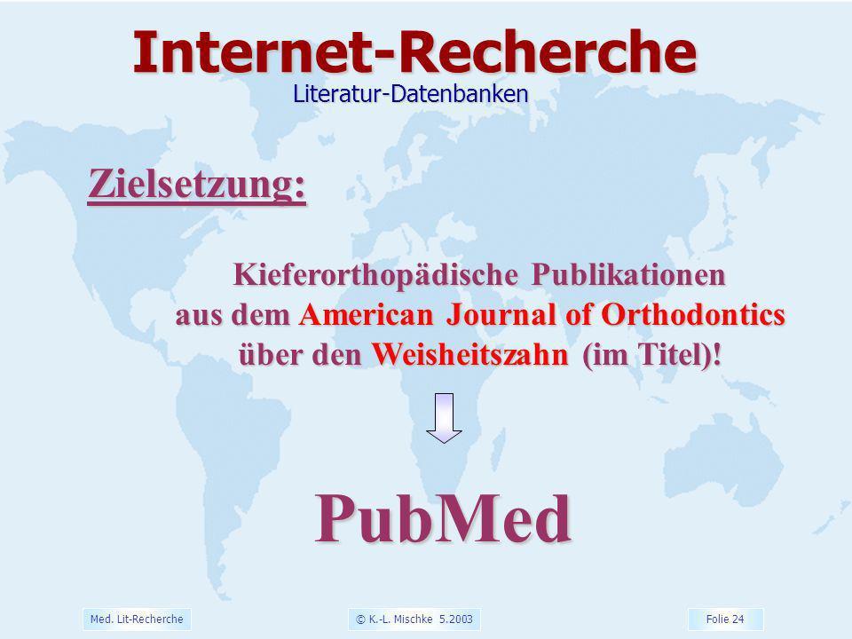 © K.-L. Mischke 5.2003 Folie 24 Med. Lit-Recherche Zielsetzung: Kieferorthopädische Publikationen aus dem American Journal of Orthodontics über den We