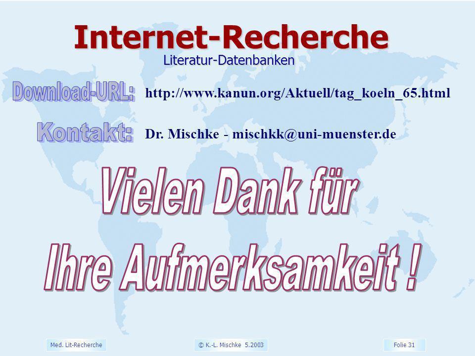 © K.-L. Mischke 5.2003 Folie 31 Med. Lit-Recherche Dr. Mischke - mischkk@uni-muenster.deInternet-RechercheLiteratur-Datenbanken http://www.kanun.org/A