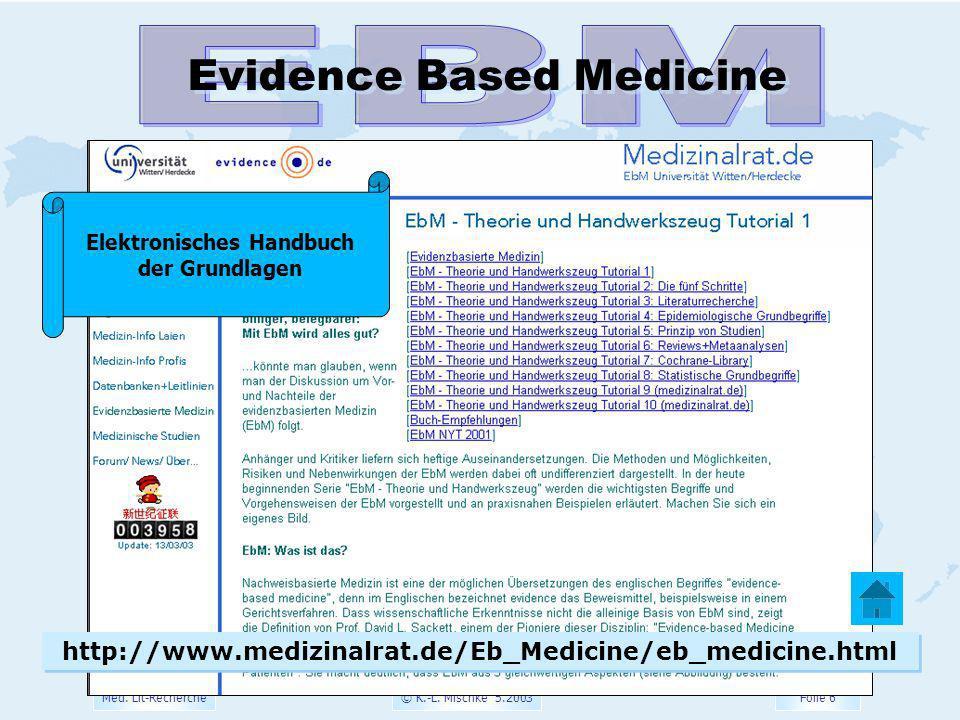 © K.-L. Mischke 5.2003 Folie 6 Med. Lit-Recherche Evidence Based Medicine http://www.medizinalrat.de/Eb_Medicine/eb_medicine.html Elektronisches Handb