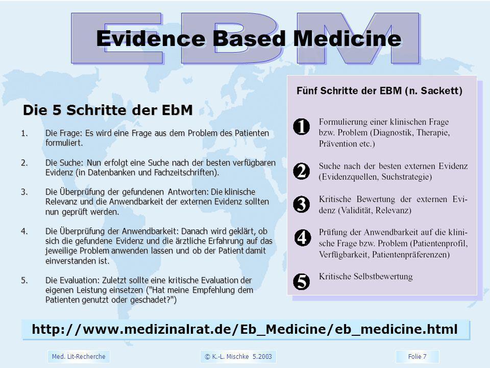© K.-L. Mischke 5.2003 Folie 8 Med. Lit-Recherche Evidence Based Medicine