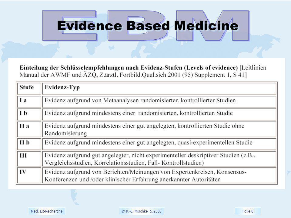 © K.-L. Mischke 5.2003 Folie 9 Med. Lit-Recherche Evidence Based Medicine