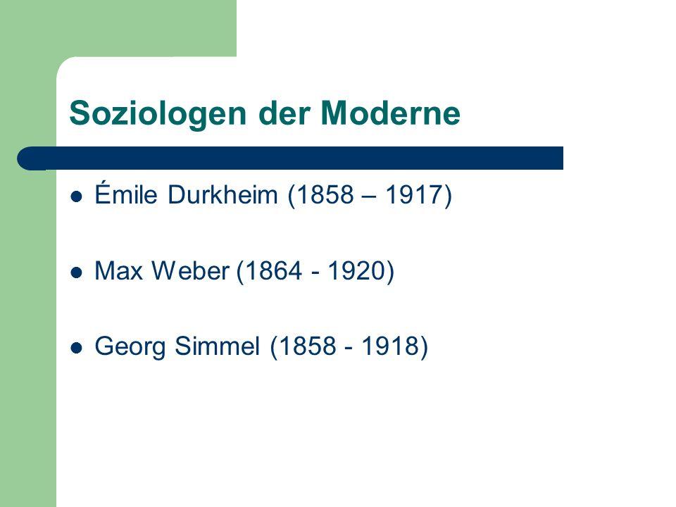 Inhalte der Vorlesung heute: Der theoretische Ansatz von Émile Durkheim: Fokus: Arbeitsteilung und Individualisierung Georg Simmel Das Geld in der modernen Kultur (1896) Fokus: Geld und Individualisierung in der Moderne
