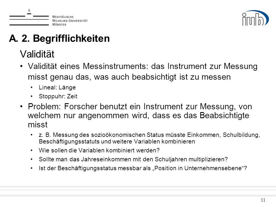 11 Validität Validität eines Messinstruments: das Instrument zur Messung misst genau das, was auch beabsichtigt ist zu messen Lineal: Länge Stoppuhr: