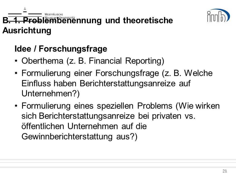 21 B. 1. Problembenennung und theoretische Ausrichtung Idee / Forschungsfrage Oberthema (z. B. Financial Reporting) Formulierung einer Forschungsfrage
