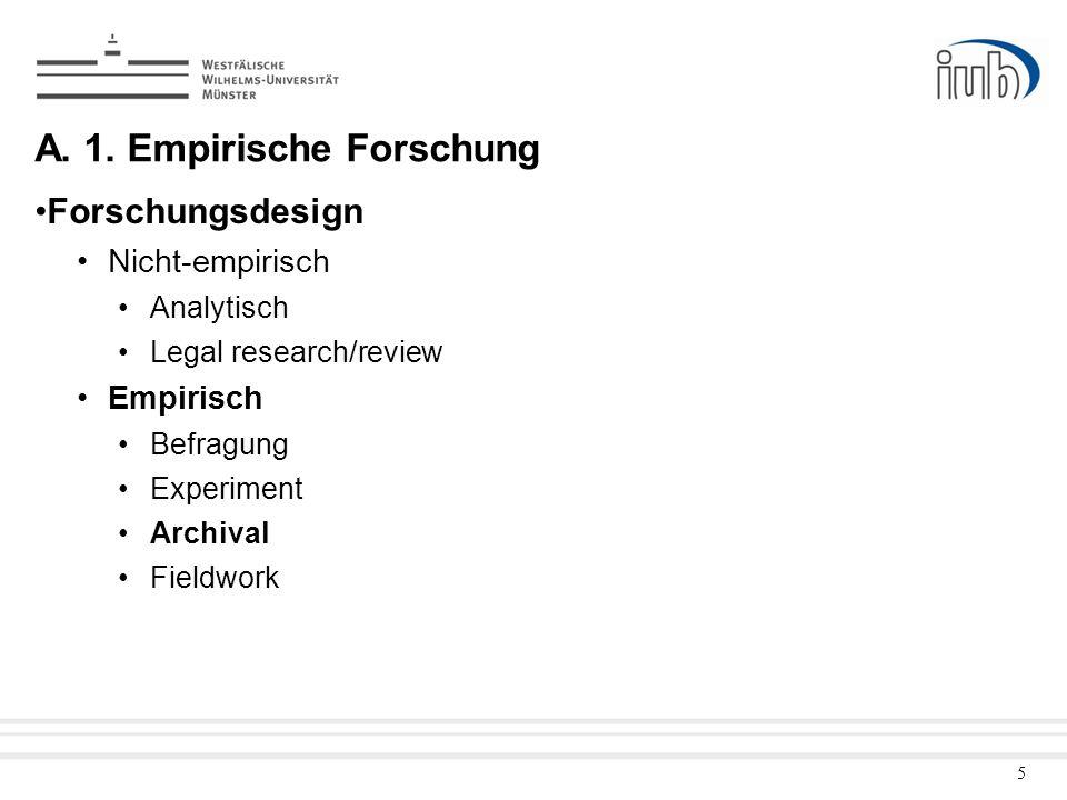 5 A. 1. Empirische Forschung Forschungsdesign Nicht-empirisch Analytisch Legal research/review Empirisch Befragung Experiment Archival Fieldwork