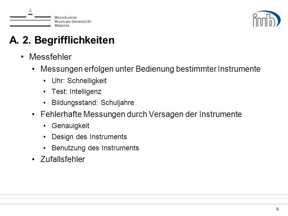 9 A. 2. Begrifflichkeiten Messfehler Messungen erfolgen unter Bedienung bestimmter Instrumente Uhr: Schnelligkeit Test: Intelligenz Bildungsstand: Sch
