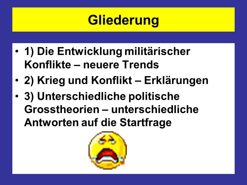 Allgemeine Trends Nach Untersuchungen der Hamburger Arbeitsgemeinschaft Kriegsursachen- forschung (AKUF) wurden im Jahr 2009 weltweit 34 Kriege und bewaffnete Konflikte geführt.