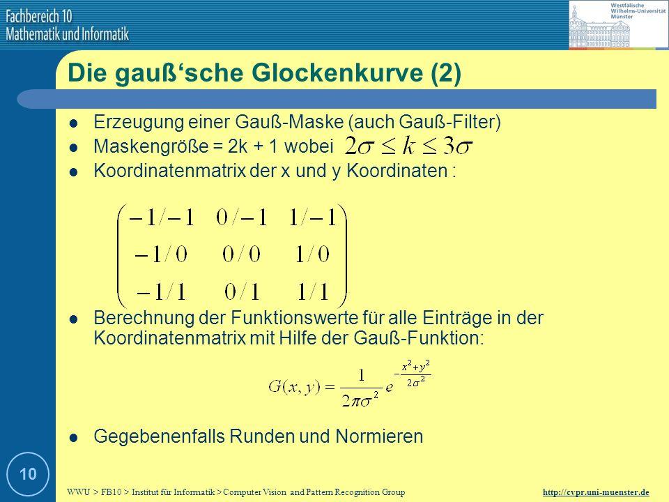 WWU > FB10 > Institut für Informatik > Computer Vision and Pattern Recognition Group http://cvpr.uni-muenster.de 9 Die gaußsche Glockenkurve (1) Varia