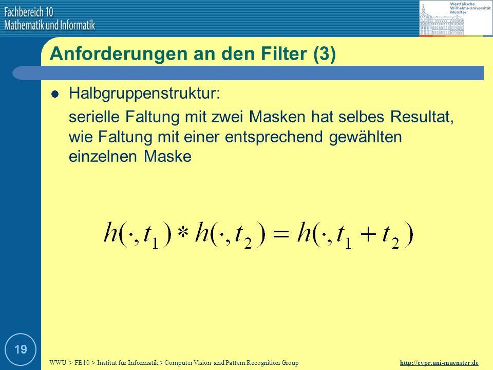 WWU > FB10 > Institut für Informatik > Computer Vision and Pattern Recognition Group http://cvpr.uni-muenster.de 18 Anforderungen an den Filter (2) Ke
