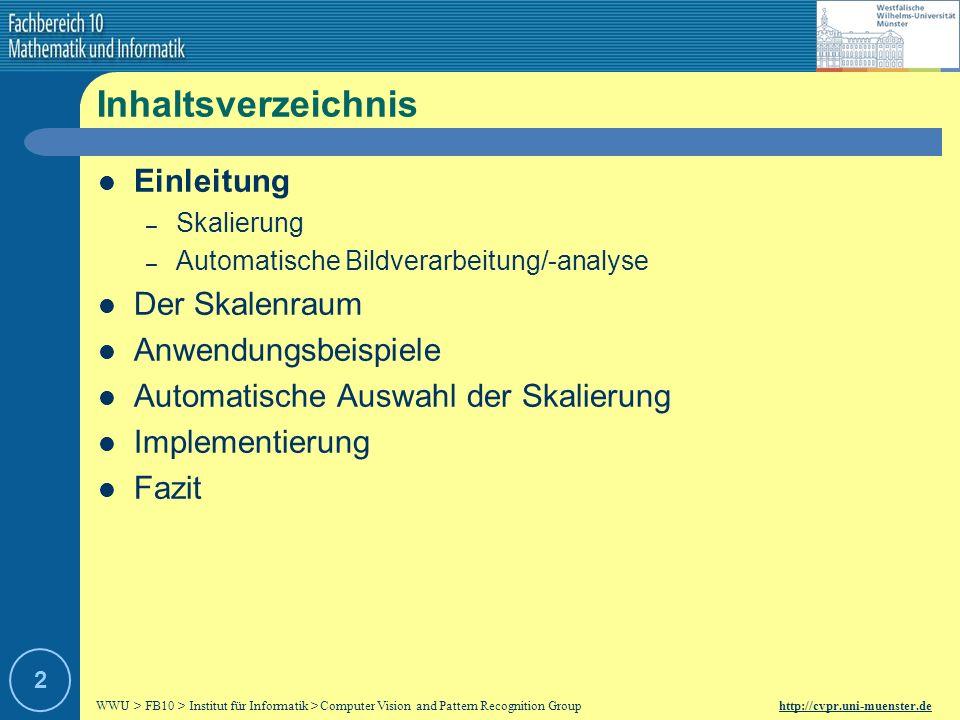 WWU > FB10 > Institut für Informatik > Computer Vision and Pattern Recognition Group http://cvpr.uni-muenster.de 12 Beispiel Faltung Gauß-Filter: Originalbild: Resultat: