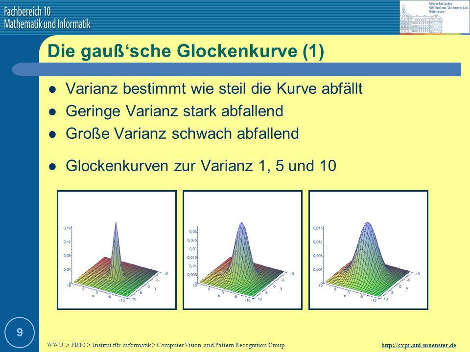 WWU > FB10 > Institut für Informatik > Computer Vision and Pattern Recognition Group http://cvpr.uni-muenster.de 29 Automatische Auswahl der Skalierung (2) Die fünf stärksten Ridge-Kurven inklusive Darstellung des Skalenparameters