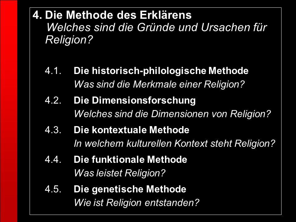 4.Die Methode des Erklärens Welches sind die Gründe und Ursachen für Religion? 4.1.Die historisch-philologische Methode Was sind die Merkmale einer Re