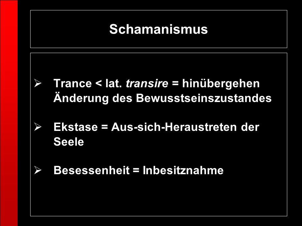 Schamanismus Trance < lat. transire = hinübergehen Änderung des Bewusstseinszustandes Ekstase = Aus-sich-Heraustreten der Seele Besessenheit = Inbesit