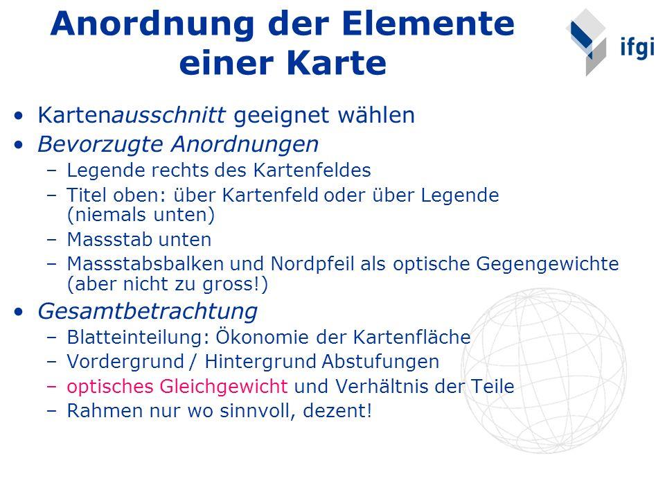 Anordnung der Elemente einer Karte Kartenausschnitt geeignet wählen Bevorzugte Anordnungen –Legende rechts des Kartenfeldes –Titel oben: über Kartenfe