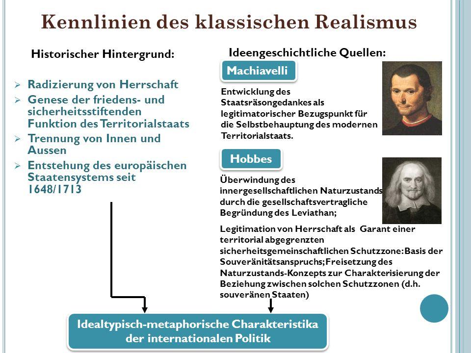 Kennlinien des klassischen Realismus Historischer Hintergrund: Radizierung von Herrschaft Genese der friedens- und sicherheitsstiftenden Funktion des