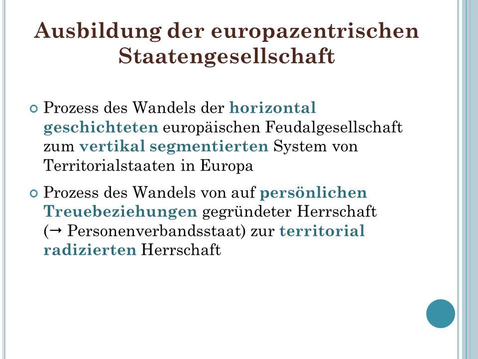 Ausbildung der europazentrischen Staatengesellschaft Prozess des Wandels der horizontal geschichteten europäischen Feudalgesellschaft zum vertikal seg