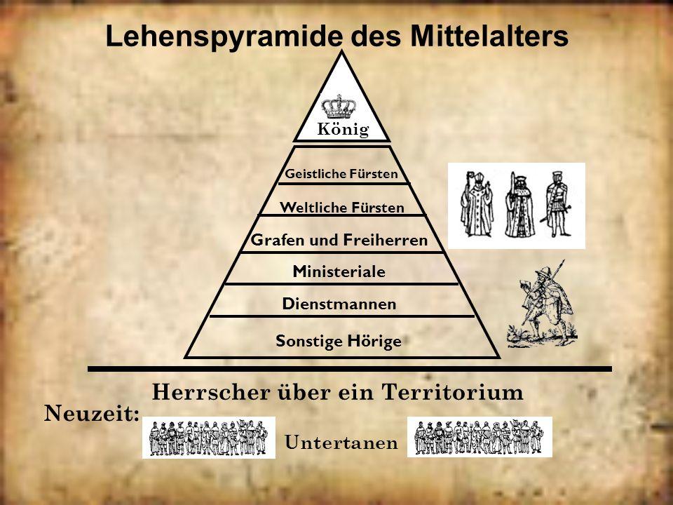 Lehenspyramide des Mittelalters König Geistliche Fürsten Weltliche Fürsten Grafen und Freiherren Ministeriale Dienstmannen Sonstige Hörige Herrscher ü