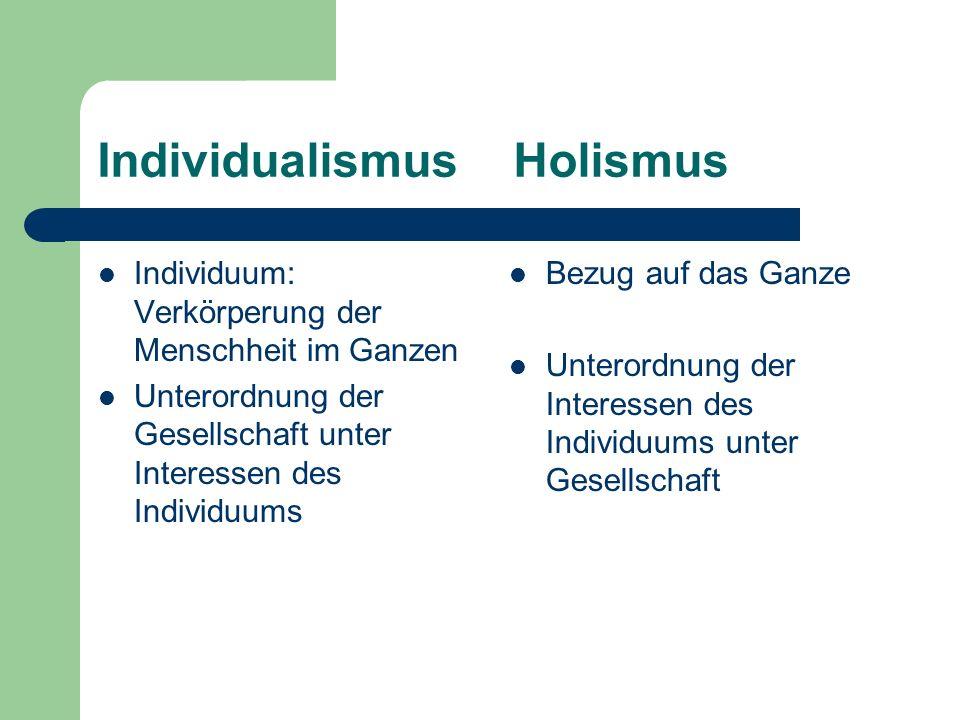 Individualismus Holismus Individuum: Verkörperung der Menschheit im Ganzen Unterordnung der Gesellschaft unter Interessen des Individuums Bezug auf da