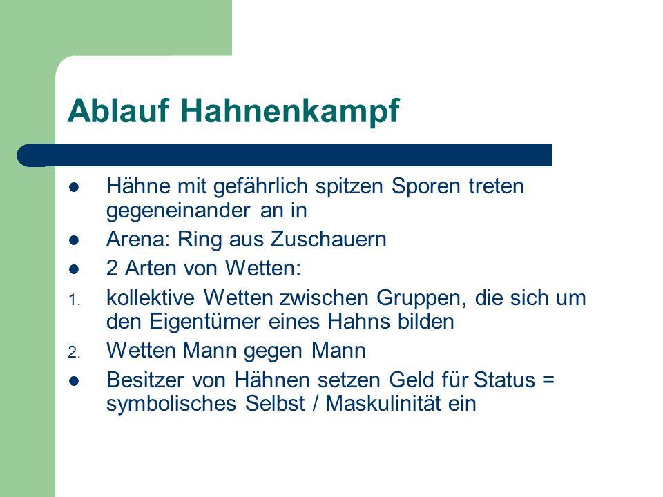 Ablauf Hahnenkampf Hähne mit gefährlich spitzen Sporen treten gegeneinander an in Arena: Ring aus Zuschauern 2 Arten von Wetten: 1. kollektive Wetten