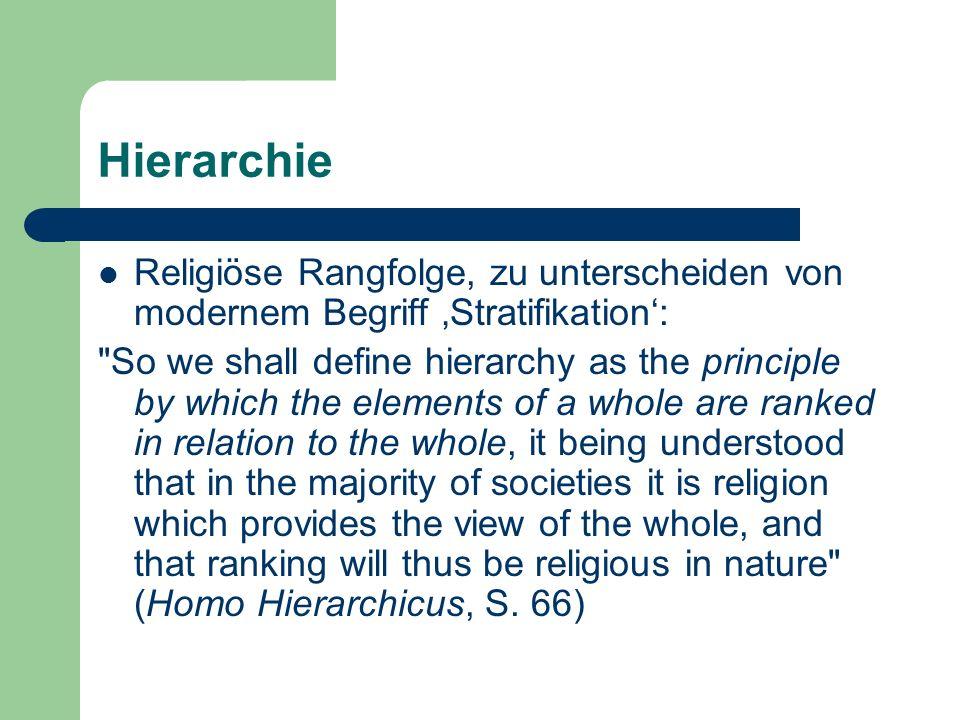Hierarchie Religiöse Rangfolge, zu unterscheiden von modernem Begriff Stratifikation:
