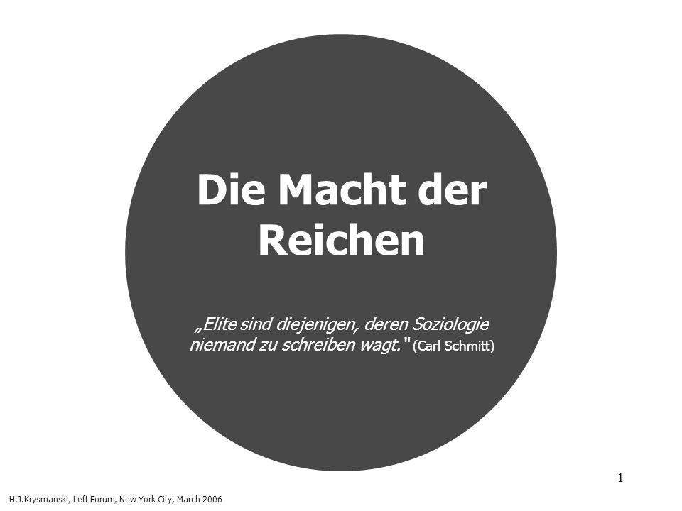 1 Die Macht der Reichen Elite sind diejenigen, deren Soziologie niemand zu schreiben wagt. (Carl Schmitt) H.J.Krysmanski, Left Forum, New York City, M