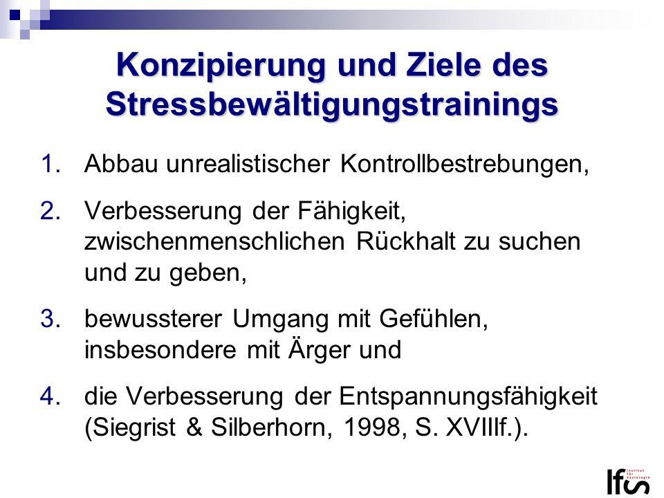 Konzipierung und Ziele des Stressbewältigungstrainings 1.Abbau unrealistischer Kontrollbestrebungen, 2.Verbesserung der Fähigkeit, zwischenmenschliche