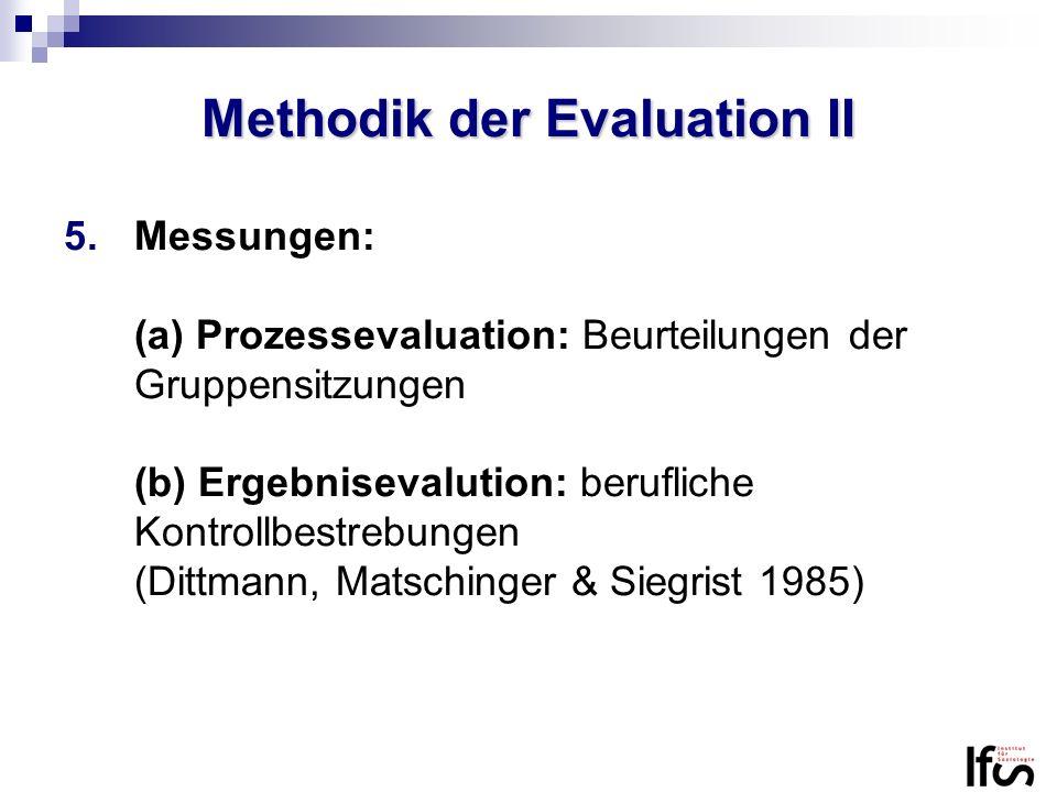 Methodik der Evaluation II 5.Messungen: (a) Prozessevaluation: Beurteilungen der Gruppensitzungen (b) Ergebnisevalution: berufliche Kontrollbestrebung