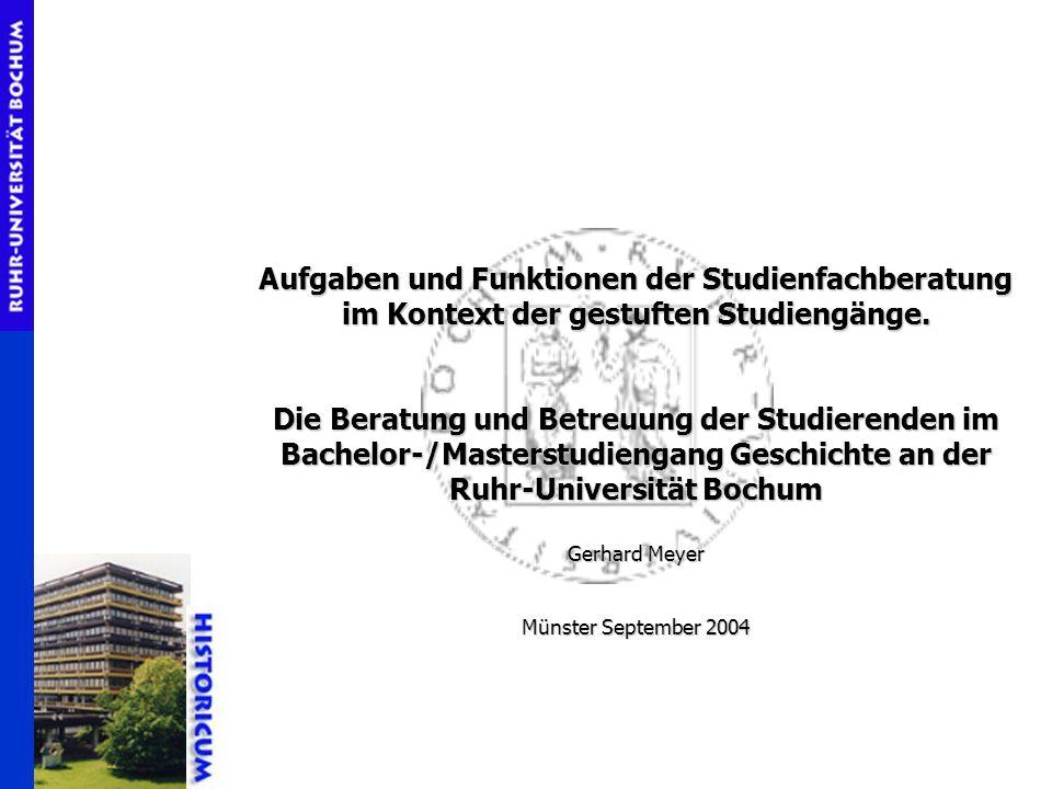 Aufgaben und Funktionen der Studienfachberatung im Kontext der gestuften Studiengänge. Die Beratung und Betreuung der Studierenden im Bachelor-/Master
