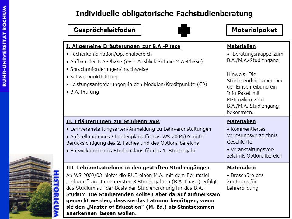 Individuelle obligatorische Fachstudienberatung GesprächsleitfadenMaterialpaket I. Allgemeine Erläuterungen zur B.A.-Phase Fächerkombination/Optionalb
