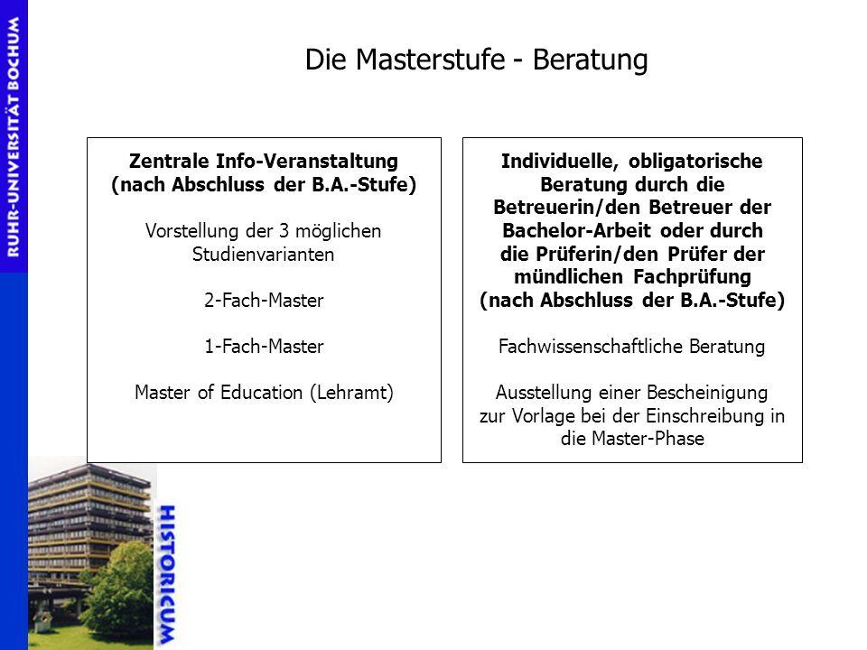 Die Masterstufe - Beratung Zentrale Info-Veranstaltung (nach Abschluss der B.A.-Stufe) Vorstellung der 3 möglichen Studienvarianten 2-Fach-Master 1-Fa
