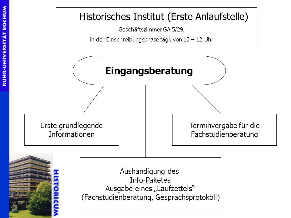 Historisches Institut (Erste Anlaufstelle) Geschäftszimmer GA 5/29, in der Einschreibungsphase tägl. von 10 – 12 Uhr Eingangsberatung Erste grundlegen