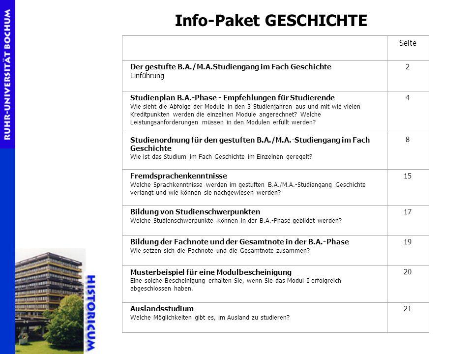 Info-Paket GESCHICHTE Seite Der gestufte B.A./M.A.Studiengang im Fach Geschichte Einführung 2 Studienplan B.A.-Phase - Empfehlungen für Studierende Wi