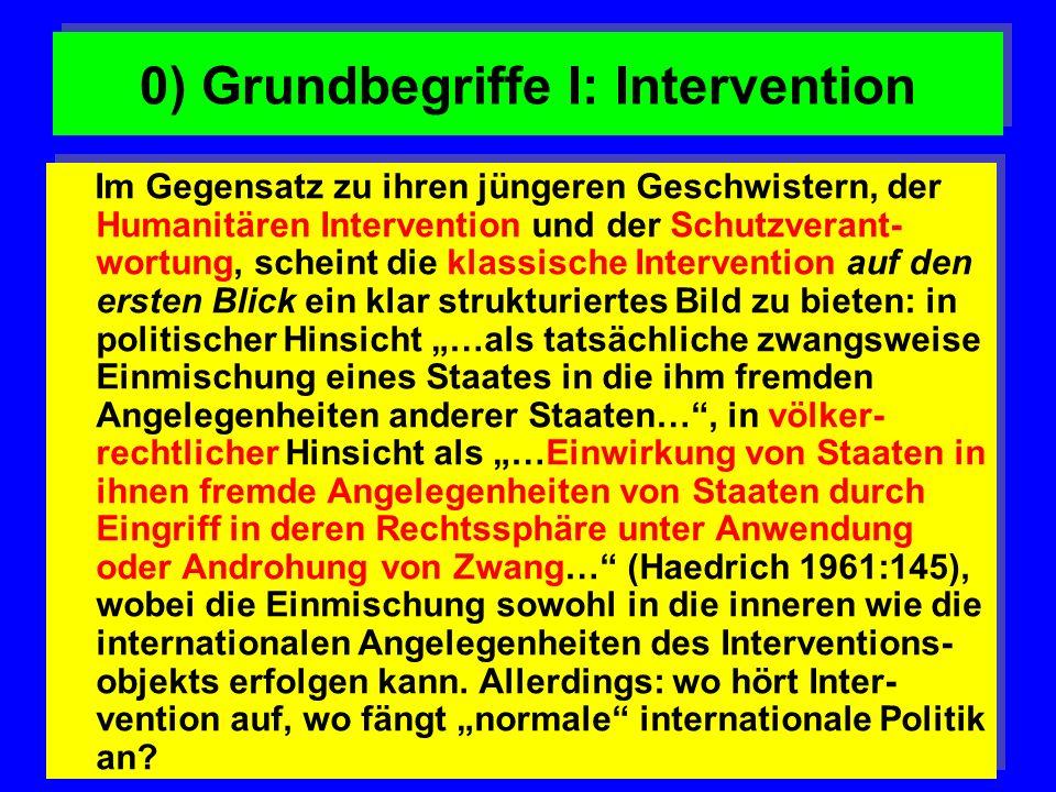 0) Grundbegriffe I: Intervention Im Gegensatz zu ihren jüngeren Geschwistern, der Humanitären Intervention und der Schutzverant- wortung, scheint die