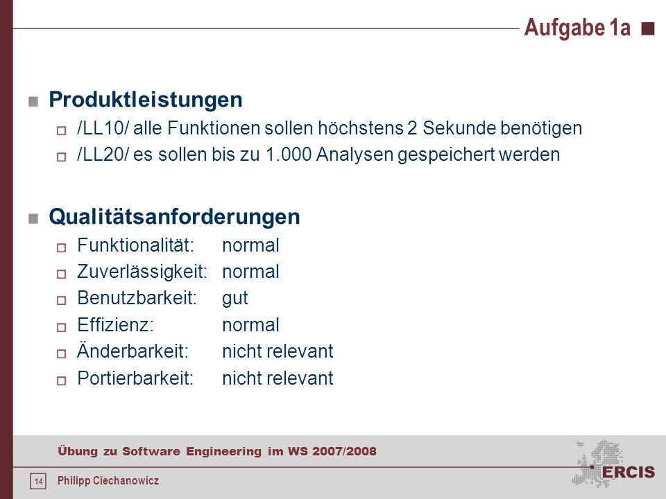 13 Übung zu Software Engineering im WS 2007/2008 Philipp Ciechanowicz Aufgabe 1a Produktfunktionen /LF10/ durchführen von Function Point Analysen /LF2