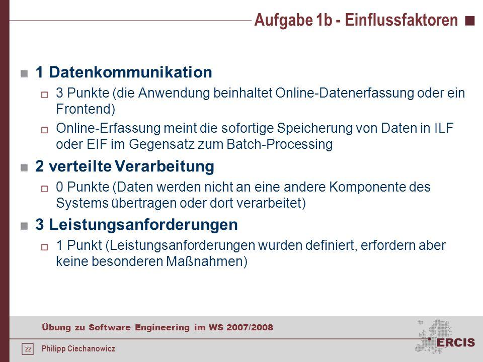 21 Übung zu Software Engineering im WS 2007/2008 Philipp Ciechanowicz Aufgabe 1b - Elementarprozesse /LF50/ Löschen Typ: EI ILF wird gepflegt keine Da