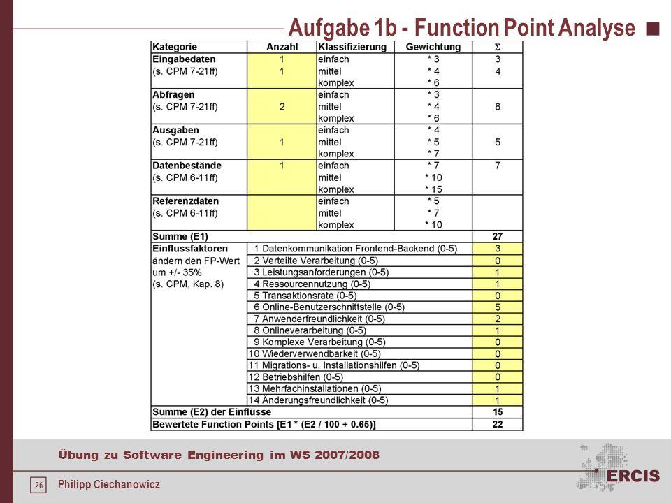 25 Übung zu Software Engineering im WS 2007/2008 Philipp Ciechanowicz Aufgabe 1b - Elementarprozesse 12 Betriebshilfen 0 Punkte (keine besonderen Anfo