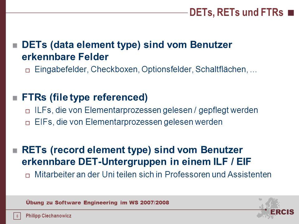 7 Übung zu Software Engineering im WS 2007/2008 Philipp Ciechanowicz Elementarprozesse - Abfragen präsentieren dem Anwender Informationen Daten / Steu