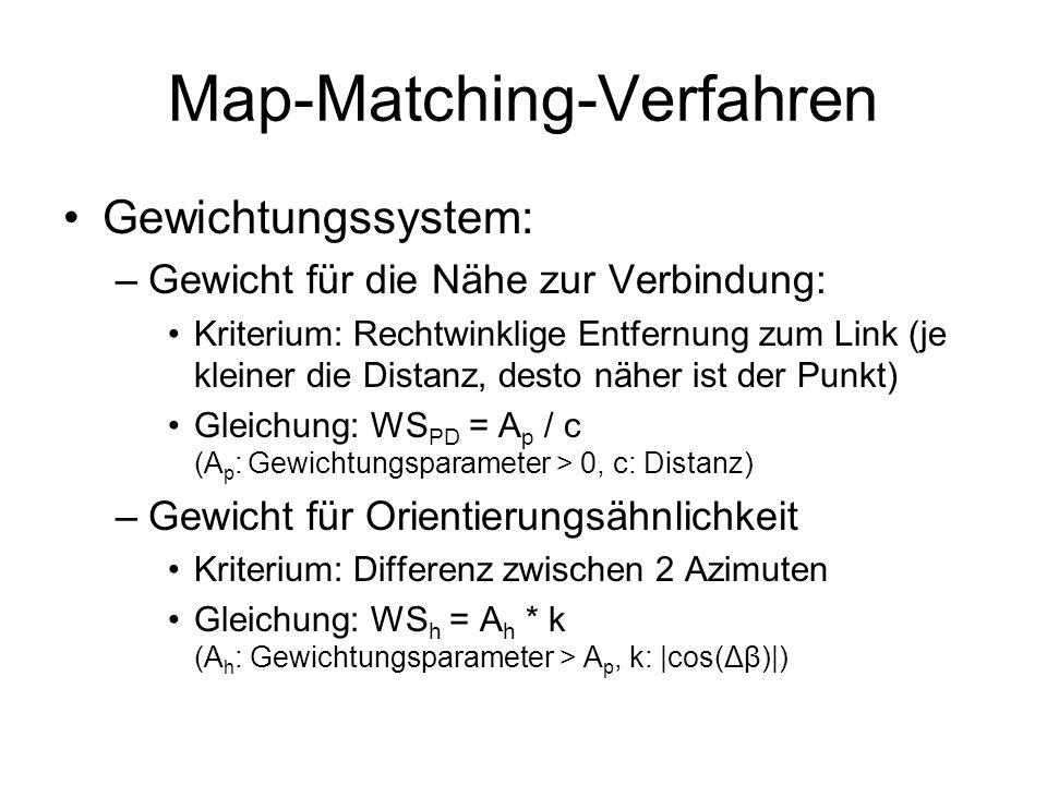 Map-Matching-Verfahren Gewichtungssystem: –Gewicht für die Nähe zur Verbindung: Kriterium: Rechtwinklige Entfernung zum Link (je kleiner die Distanz, desto näher ist der Punkt) Gleichung: WS PD = A p / c (A p : Gewichtungsparameter > 0, c: Distanz) –Gewicht für Orientierungsähnlichkeit Kriterium: Differenz zwischen 2 Azimuten Gleichung: WS h = A h * k (A h : Gewichtungsparameter > A p, k: |cos(Δβ)|)