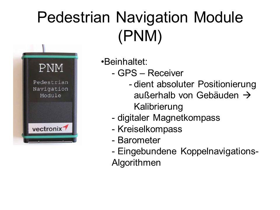 Pedestrian Navigation Module (PNM) Beinhaltet: -GPS – Receiver -dient absoluter Positionierung außerhalb von Gebäuden Kalibrierung -digitaler Magnetkompass -Kreiselkompass -Barometer -Eingebundene Koppelnavigations- Algorithmen