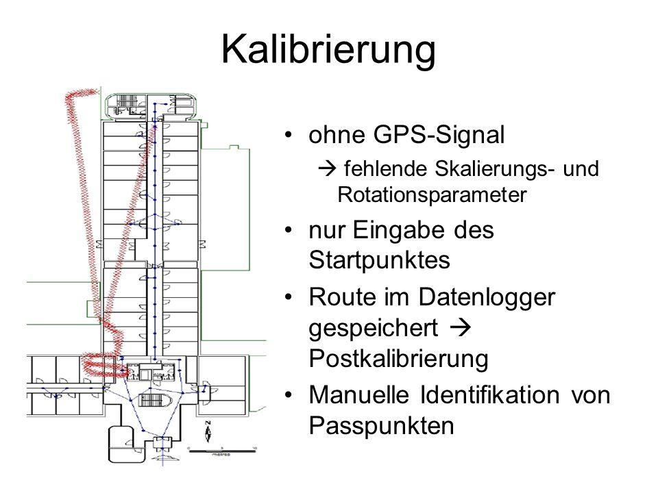 Kalibrierung ohne GPS-Signal fehlende Skalierungs- und Rotationsparameter nur Eingabe des Startpunktes Route im Datenlogger gespeichert Postkalibrierung Manuelle Identifikation von Passpunkten