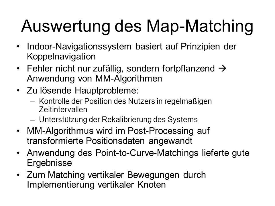 Auswertung des Map-Matching Indoor-Navigationssystem basiert auf Prinzipien der Koppelnavigation Fehler nicht nur zufällig, sondern fortpflanzend Anwendung von MM-Algorithmen Zu lösende Hauptprobleme: –Kontrolle der Position des Nutzers in regelmäßigen Zeitintervallen –Unterstützung der Rekalibrierung des Systems MM-Algorithmus wird im Post-Processing auf transformierte Positionsdaten angewandt Anwendung des Point-to-Curve-Matchings lieferte gute Ergebnisse Zum Matching vertikaler Bewegungen durch Implementierung vertikaler Knoten