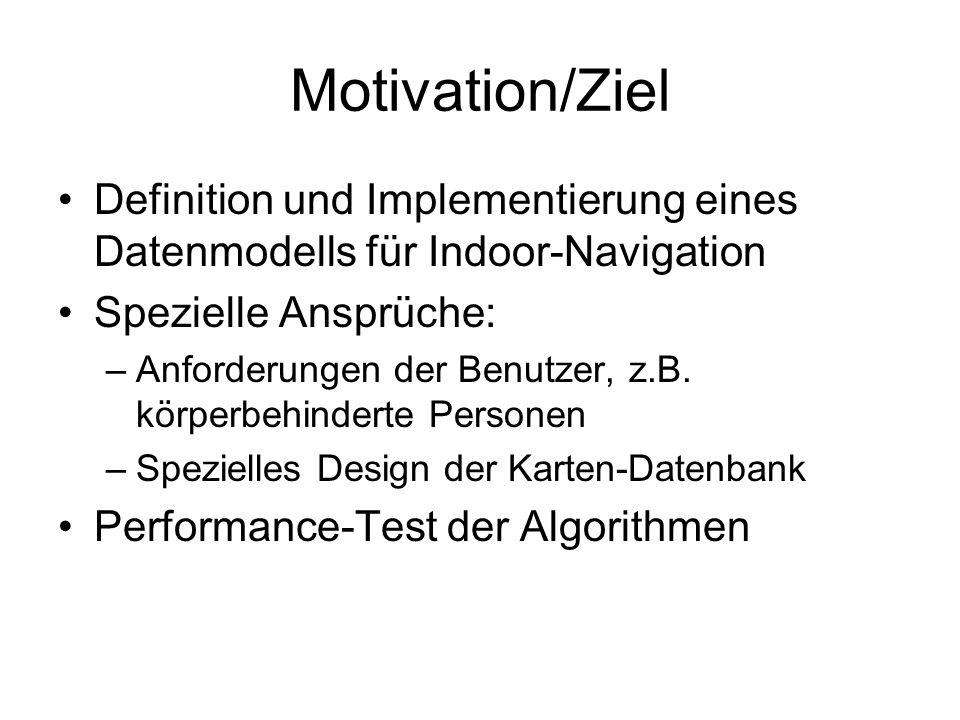 Motivation/Ziel Definition und Implementierung eines Datenmodells für Indoor-Navigation Spezielle Ansprüche: –Anforderungen der Benutzer, z.B.