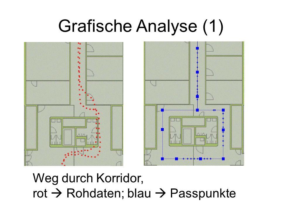 Grafische Analyse (1) Weg durch Korridor, rot Rohdaten; blau Passpunkte