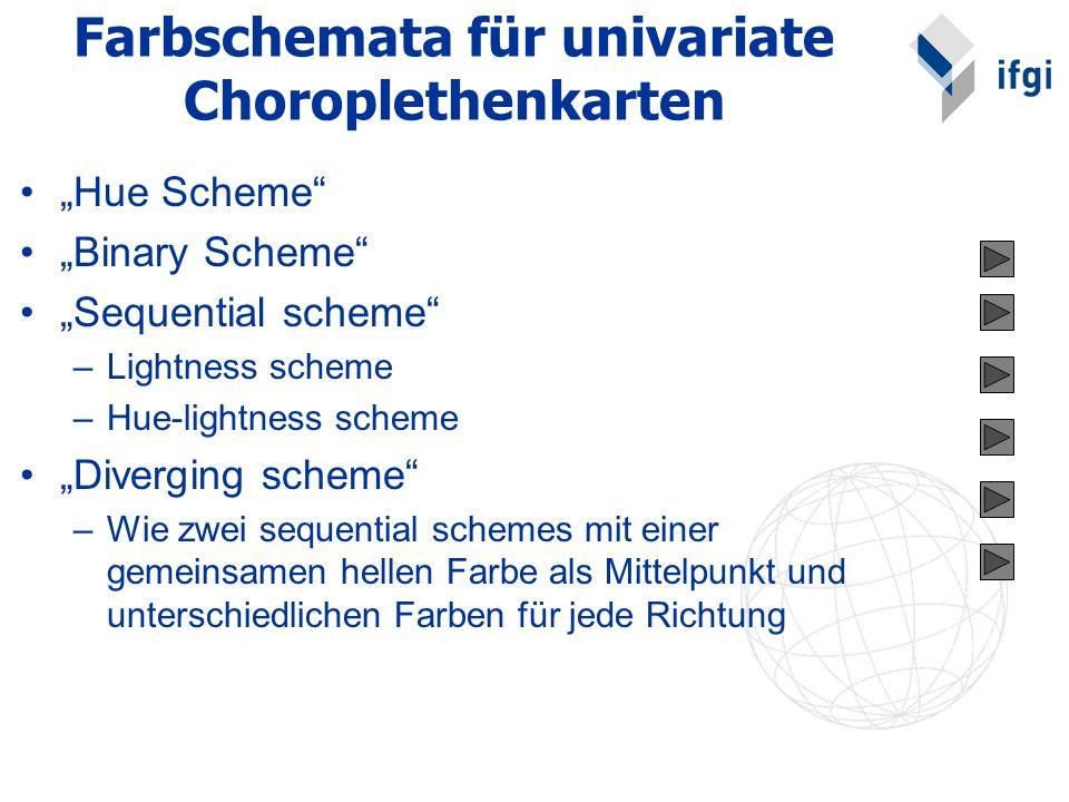 Farbschemata für univariate Choroplethenkarten Hue Scheme Binary Scheme Sequential scheme –Lightness scheme –Hue-lightness scheme Diverging scheme –Wi