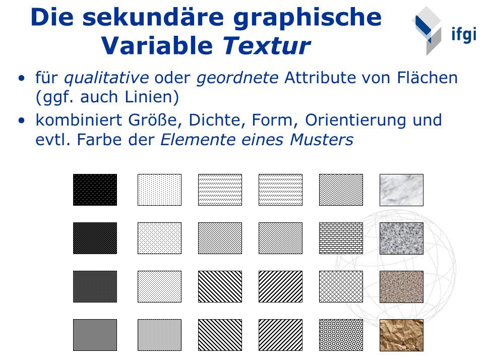 Die sekundäre graphische Variable Textur für qualitative oder geordnete Attribute von Flächen (ggf. auch Linien) kombiniert Größe, Dichte, Form, Orien