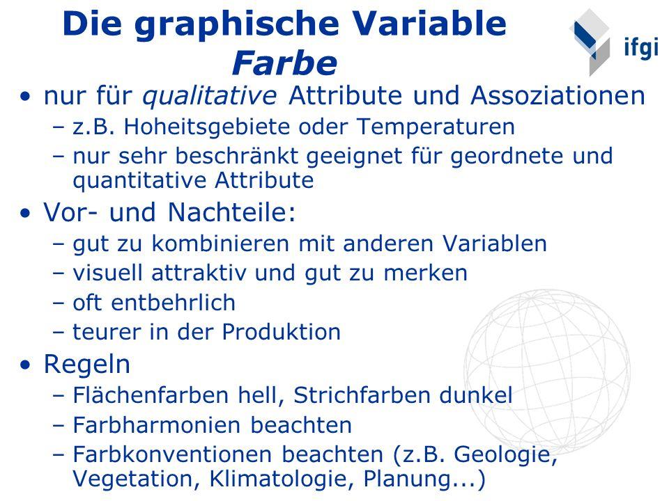Die graphische Variable Farbe nur für qualitative Attribute und Assoziationen –z.B. Hoheitsgebiete oder Temperaturen –nur sehr beschränkt geeignet für