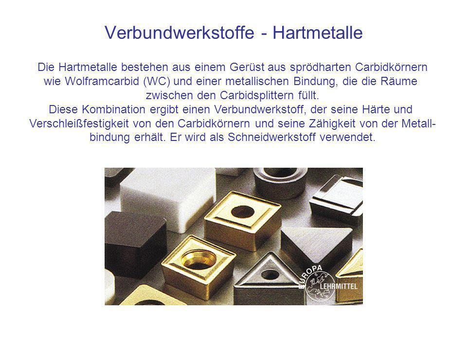 Verbundwerkstoffe - Hartmetalle Die Hartmetalle bestehen aus einem Gerüst aus sprödharten Carbidkörnern wie Wolframcarbid (WC) und einer metallischen