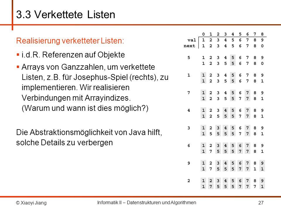© Xiaoyi Jiang Informatik II – Datenstrukturen und Algorithmen 27 3.3 Verkettete Listen Realisierung verketteter Listen: i.d.R.