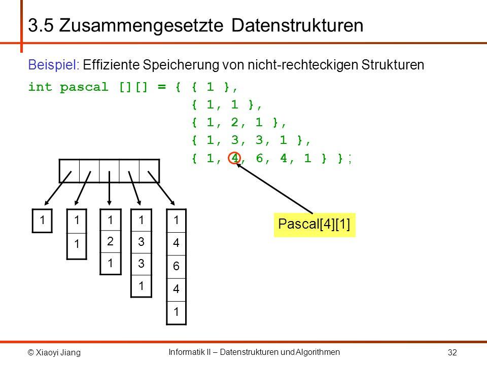 © Xiaoyi Jiang Informatik II – Datenstrukturen und Algorithmen 32 3.5 Zusammengesetzte Datenstrukturen Beispiel: Effiziente Speicherung von nicht-rechteckigen Strukturen int pascal [][] = { { 1 }, { 1, 1 }, { 1, 2, 1 }, { 1, 3, 3, 1 }, { 1, 4, 6, 4, 1 } } ; 1 1 1 1 2 1 1 3 3 1 1 4 6 4 1 Pascal[4][1]