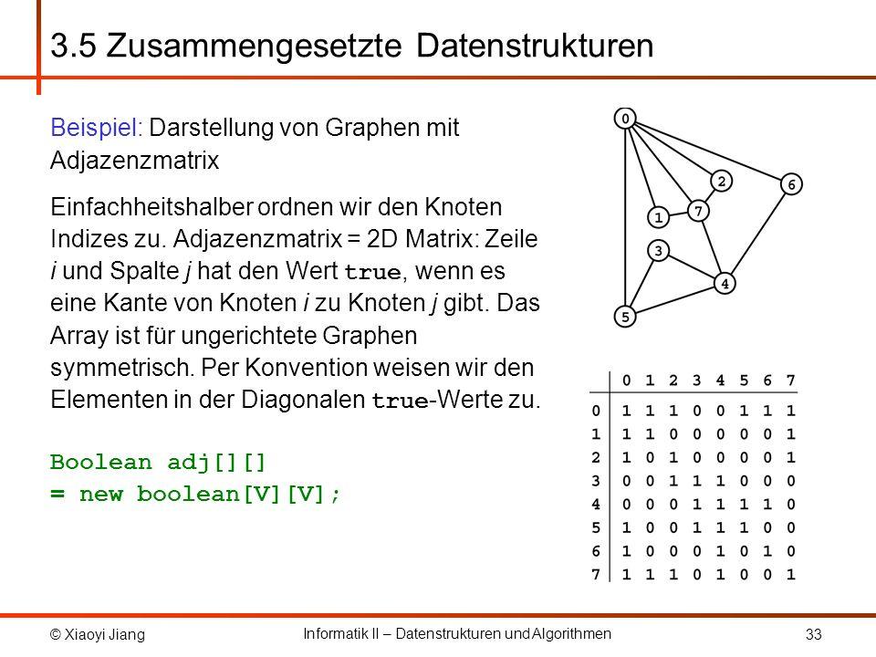 © Xiaoyi Jiang Informatik II – Datenstrukturen und Algorithmen 33 3.5 Zusammengesetzte Datenstrukturen Beispiel: Darstellung von Graphen mit Adjazenzmatrix Einfachheitshalber ordnen wir den Knoten Indizes zu.